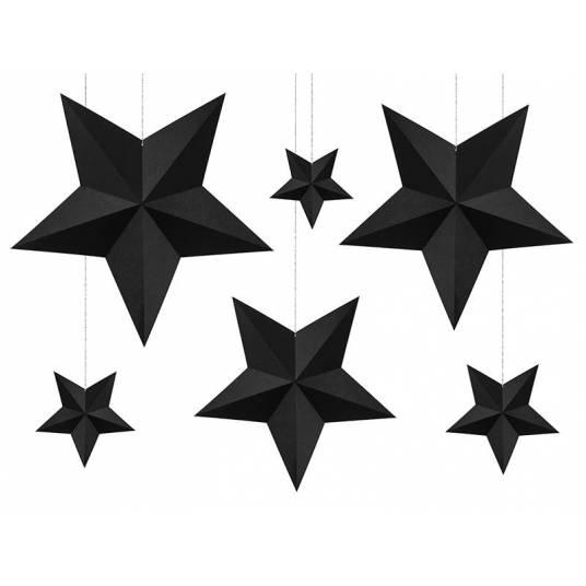 Dekoracja wisząca czarne Gwiazdy