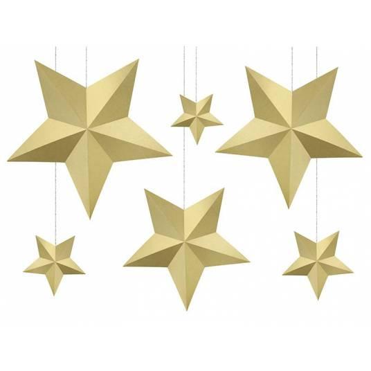 Dekoracja wisząca złote Gwiazdy