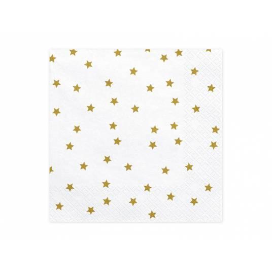 Serwetki świąteczne Gwiazdki, złoty, 33x33cm