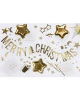 Baner Merry Christmas, złoty