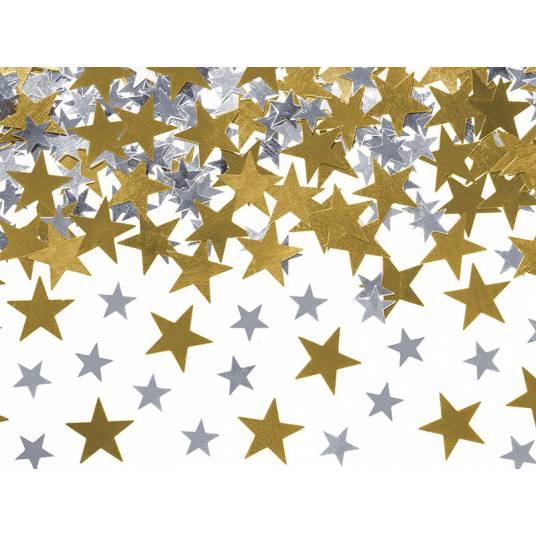 Konfetti Gwiazdki złote i srebrne