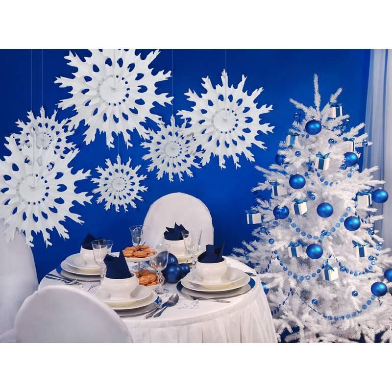 Rozeta bibułowa Śnieżynka 37 cm