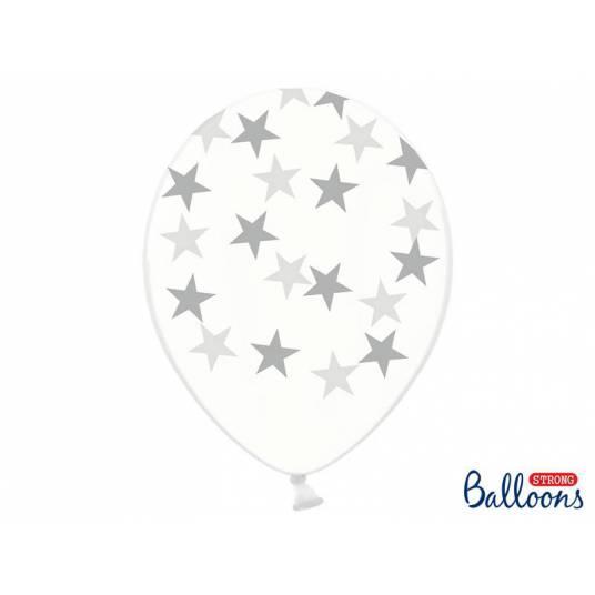 Balony 30cm, Gwiazdki, Crystal Clear, srebrne
