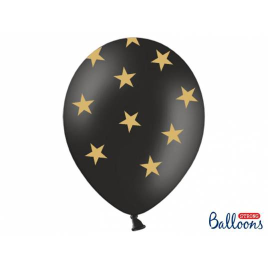 Balony 30cm, Gwiazdki, Pastel Black