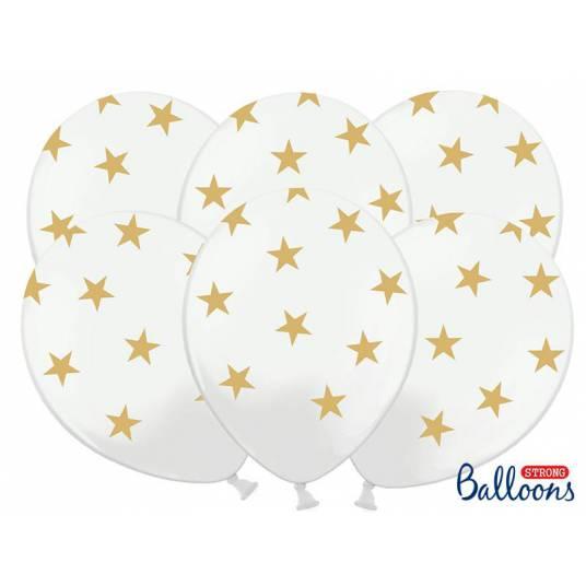 Balony 30cm, Gwiazdki, Pastel Pure White
